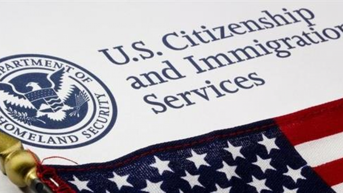 U.S. Citizenship and Immigration Services logo and U.S. flag