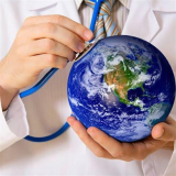 a doctor holding a stethoscope over a globe